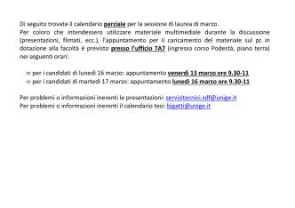 calendario parziale tesi di laurea di marzo - genova