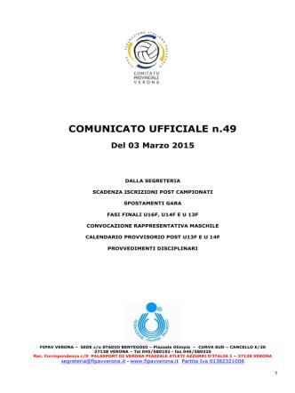 COMUNICATO UFFICIALE n.49 Del 03 Marzo 2015