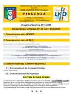 Comunicato Ufficiale N° 34 del 11/03/2015