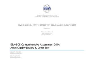 AQR e Stress Test 2014 - Presentazione Montesi