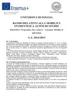 Bando Erasmus 2014-2015 - Università degli Studi di Foggia