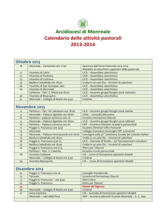 Arcidiocesi di Monreale Calendario delle attività