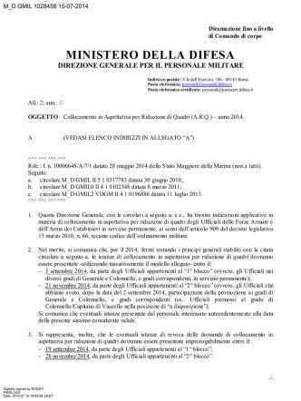 ARQ - 2014 - Circolare n. M_D GMIL 1028458 del 15.07.2014
