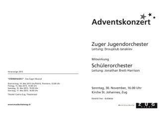 Adventskonzert - Musikschule der Stadt Zug