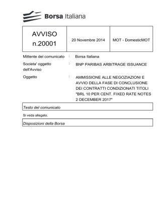 AVVISO n.20001 - Borsa Italiana