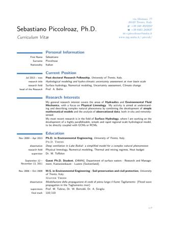 Curriculum Vitæ - Università degli Studi di Trento