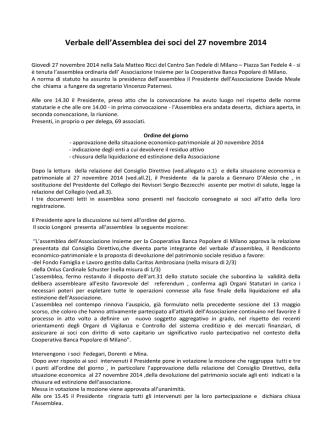 Assemblea Insieme 27 novembre 2014 - Assoinsieme