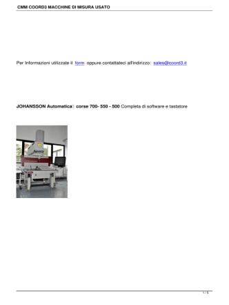 CMM COORD3 MACCHINE DI MISURA USATO