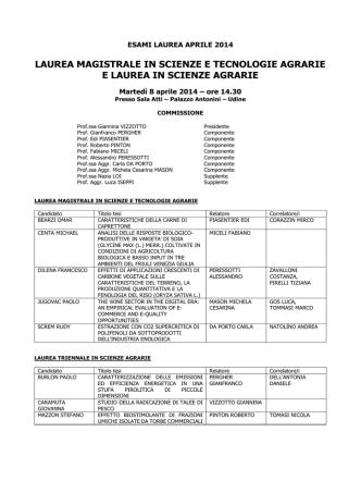 Commissione laurea STAG 8 aprile 2014 ore 14.30