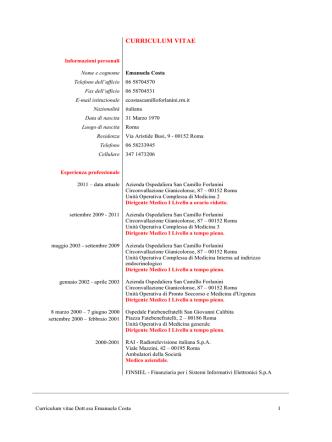 curriculum vitae - Azienda Ospedaliera S.Camillo