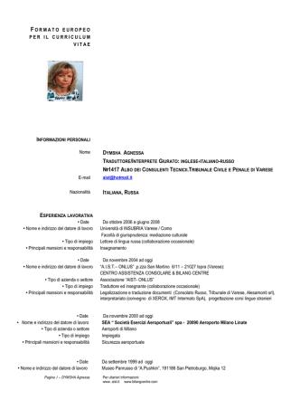 CV dott.ssa Agnessa Dymsha - Centro Accademico Bilingue
