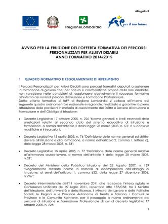 Avviso PPD 2014-2015 - Istruzione, Formazione e Lavoro