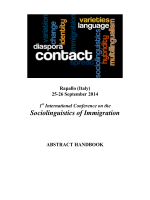 Sociolinguistics of Immigration - Dipartimento di Lingue e Letterature