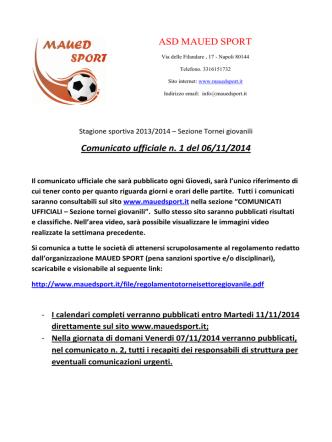 Comunicato ufficiale n. 1 del 06/11/2014 ASD MAUED SPORT