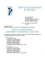 Indizione Campionati Provinciali 2014/2015