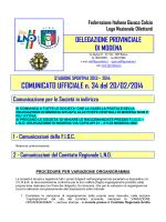 COMUNICATO UFFICIALE n. 34 del 20/02/2014