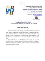 Comunicato Ufficiale N° 106 del 3/12/2014
