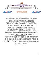 Comunicato ufficiale 07 - 11 novembre 2014_SACCA