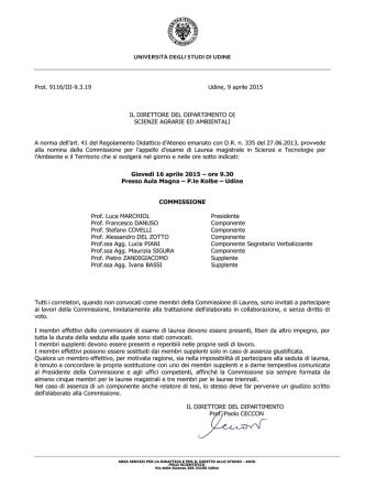 Commissione - Università degli Studi di Udine