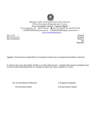 circolare_67_risultatielettorali - Liceo Scientifico Statale A. Righi