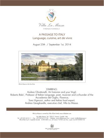 A PASSAGE TO ITALY Language, cuisine, art de vivre