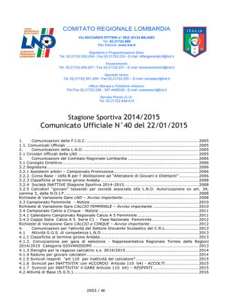 Comunicato Ufficiale N°40 del 22/01/2015