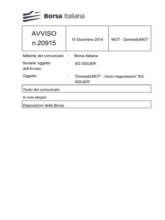 AVVISO n.20915 - Borsa Italiana