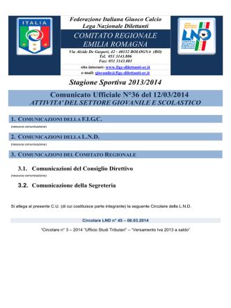 CU 36 SGS... - FIGC Comitato Regionale Emilia Romagna