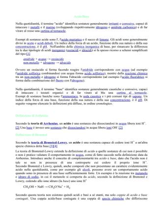 Acido/Base Nella quotidianità, il termine