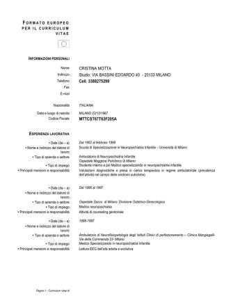Curriculum - SINDROME DI ASPERGER E AUTISMO