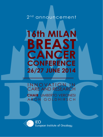 16th MILAN BREAST CANCER CONFERENCE 26/27 JUNE