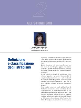 Definizione e classificazione degli strabismi gli StraBiSmi
