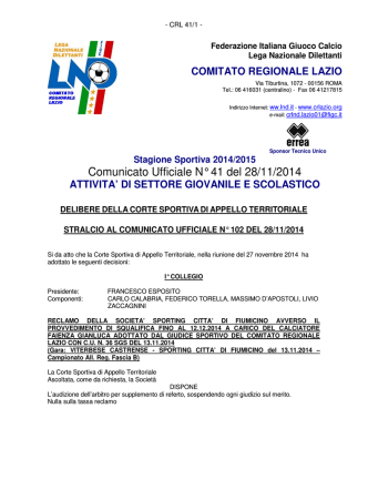 Comunicato Ufficiale N° 41 del 28/11/2014