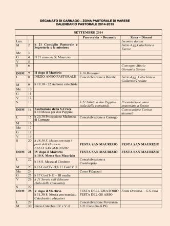 Clicca qui per vedere il calendario completo
