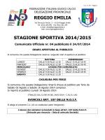 REGGIO EMILIA STAGIONE SPORTIVA 2014/2015