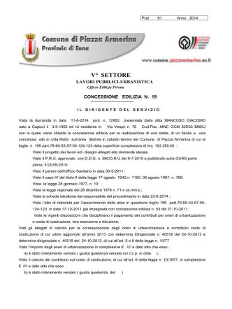 Concessione Edilizia n. 19/2014 ditta Mancuso Giacomo
