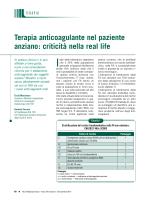 Terapia anticoagulante nel paziente anziano: criticità nella real life