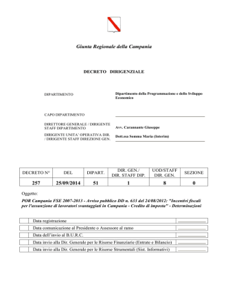 Decreto dirigenziale n. 257/2014