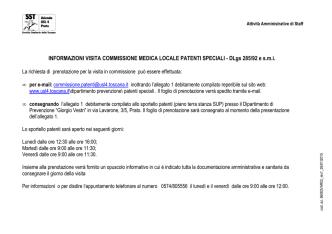 COMMISSIONE MEDICA LOCALE PATENTI SPECIALI – DLgs 285