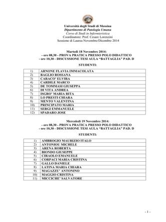 Commissioni Lauree Novembre Dicembre 2014 Studenti