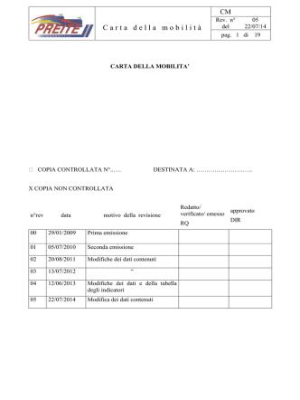 Carta della Mobilità Preite Rev 05- 22-07-2014