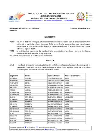 Decreto scioglimento riserva candidati TFA II ciclo