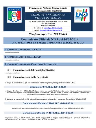 CU 45 SGS... - FIGC Comitato Regionale Emilia Romagna