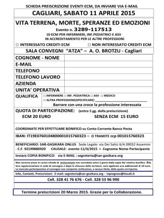CAGLIARI, SABATO 11 APRILE 2015 - sar