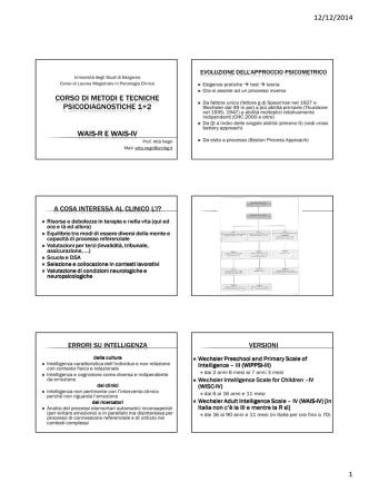 Corso di Metodi e Tecniche - WAIS-R e WAIS-IV