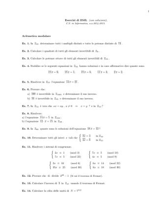 1 Esercizi di EML (con soluzioni), Aritmetica modulare Es. 1. In Z 35