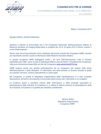 COMUNICATO PER LE AZIENDE - XII Congresso Nazionale AIMN