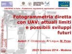 Fotogrammetria diretta con UAV: attuali limiti e possibili
