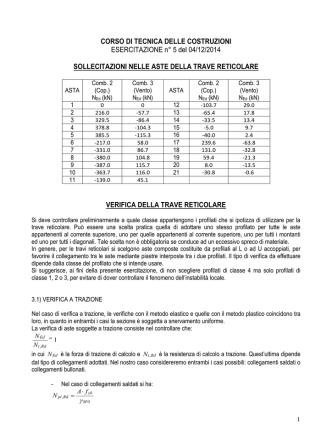 CORSO DI TECNICA DELLE COSTRUZIONI ESERCITAZIONE n° 5