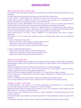 ARCHIVIO EVENTI - associazionecanesicuro.it